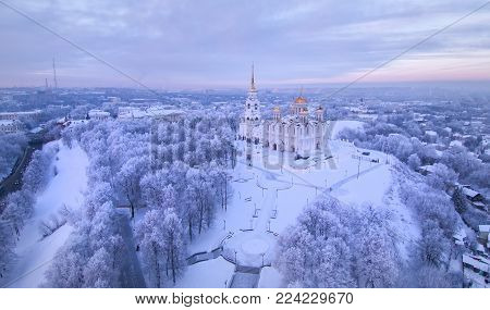 Aerial view of Assumption Cathedral on sunset. Vladimir. Russia. Uspenskiy Cathedral