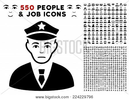 Dolor Policeman pictograph with 550 bonus pitiful and glad people icons. Vector illustration style is flat black iconic symbols.