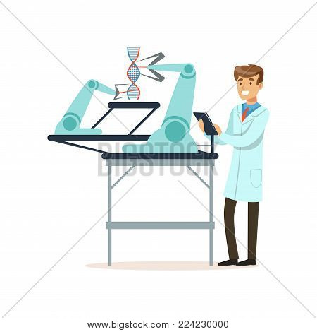 Male scientist and robotic arm conducting experiments in a modern laboratory, robotic arm working with DNA structure, artificial intelligence concept vector illustration isolated on a white background