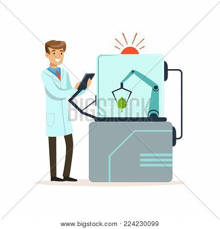 Male scientist and robotic arm conducting experiments in a modern laboratory, robotic arm working with tree leaf, artificial intelligence concept vector illustration isolated on a white background