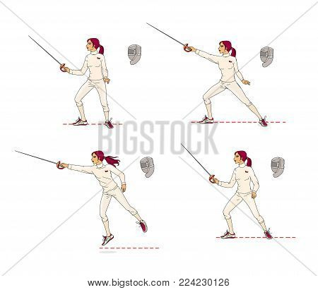 A young woman performs the basic elements of combat with a rapier. Learning to fight. Training. Mask for the rapier. Isolated on white background