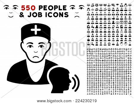 Dolor Psychotherapist Doctor Visit icon with 550 bonus sad and glad men design elements. Vector illustration style is flat black iconic symbols.