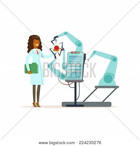 Female scientist and robotic arm conducting experiments in a modern laboratory, robotic arm testing tomato, artificial intelligence concept vector illustration isolated on a white background