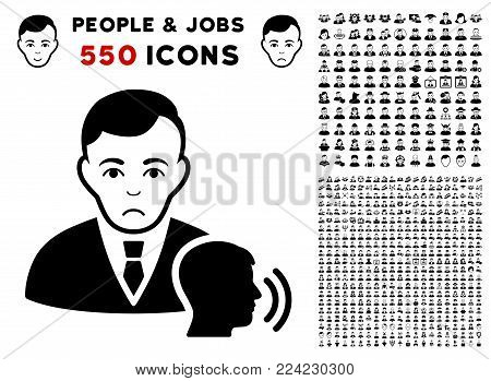 Dolor Psychotherapist Visit pictograph with 550 bonus pity and happy jobs pictographs. Vector illustration style is flat black iconic symbols.