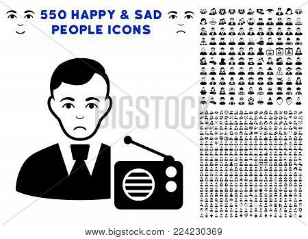 Sadly Radio Dictor pictograph with 550 bonus pity and happy men design elements. Vector illustration style is flat black iconic symbols.