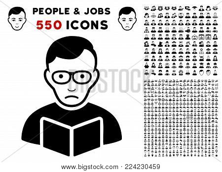 Dolor Reader Student icon with 550 bonus sad and happy people pictures. Vector illustration style is flat black iconic symbols.