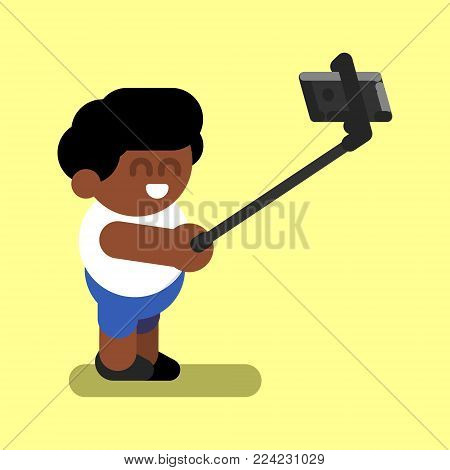 Afro american boy makes selfie. Vector illustration, EPS 10