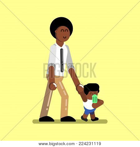 Afro american boy with father walking. Vector illustration, EPS 10