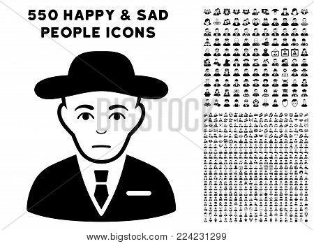 Sadly Secret Service Agent icon with 550 bonus pitiful and happy user images. Vector illustration style is flat black iconic symbols.