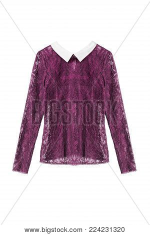 Lacy purple blouse with white collar isolated over white