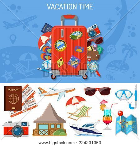 Vacation and Tourism Banner with Flat Icons Planning, Luggage, Trip, Cocktail, Island, Aircraft and Suitcase. Isolated vector illustration
