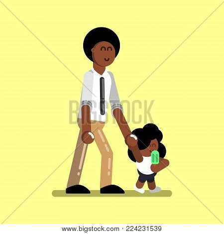 Afro american girl with father walking. Vector illustration, EPS 10