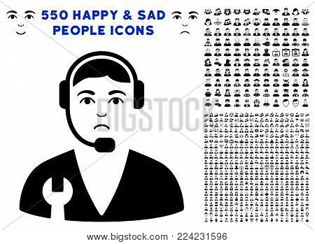 Pitiful Service Operator pictograph with 550 bonus pitiful and happy jobs icons. Vector illustration style is flat black iconic symbols.