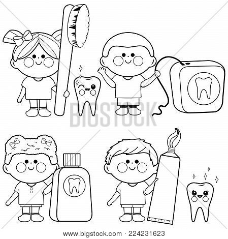 Vector illustration set of children using dental hygiene objects: toothbrush, toothpaste, dental floss, mouth wash, smiling with healthy teeth. Black and white coloring book page.
