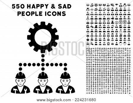 Dolor Service Staff icon with 550 bonus sad and happy men symbols. Vector illustration style is flat black iconic symbols.