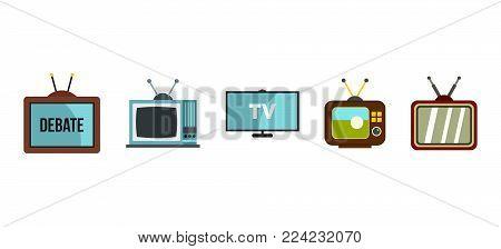 Tv set icon set. Flat set of tv set vector icons for web design isolated on white background