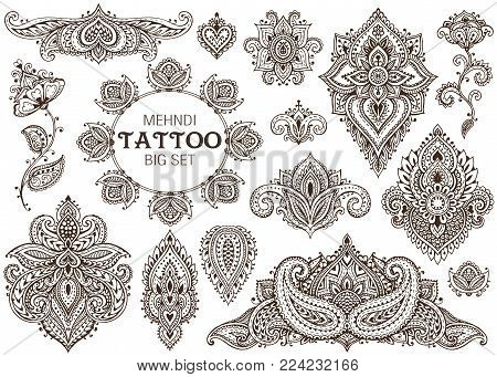 Big vector set of henna floral elements based on traditional Asian ornaments. Paisley Mehndi Tattoo Doodles collection