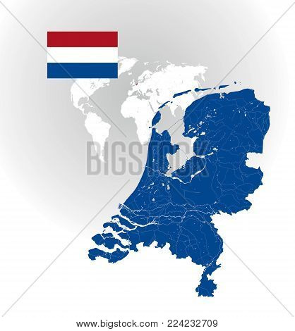 Map of Netherlands with rivers and lakes, national flag of Netherlands and world map as background. Please look at my other images of cartographic series - they are all very detailed and carefully drawn by hand WITH RIVERS AND LAKES.