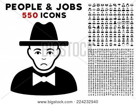 Sadly Spy pictograph with 550 bonus sad and happy people pictures. Vector illustration style is flat black iconic symbols.