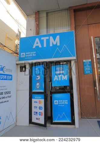Kathmandu Nepal - November 12, 2017: Nmb Bank Atm In Kathmandu. Nmb Bank Is One Of The Nepali Leadin