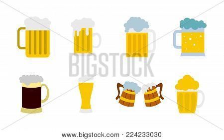 Glass of beer icon set. Flat set of glass of beer vector icons for web design isolated on white background