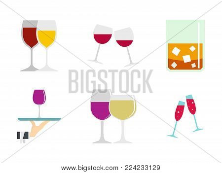 Glass icon set. Flat set of glass vector icons for web design isolated on white background
