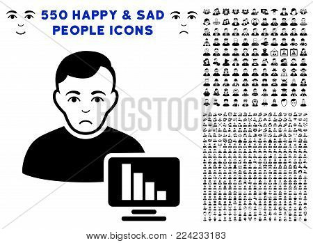 Dolor Stock Trader icon with 550 bonus pitiful and happy men icons. Vector illustration style is flat black iconic symbols.