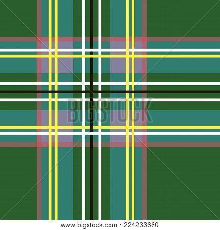 Scottish cage, green celtic. Scottish green checkered background. Scottish pattern. Vector illustration