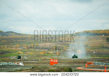 Nizhniy Tagil, Russia - September 26. 2013: Antiaircraft gun missile system ZSU-23-4M4 Shilka-M4 and Tunguska M1. Display of fighting opportunities of arms and military equipment of land forces