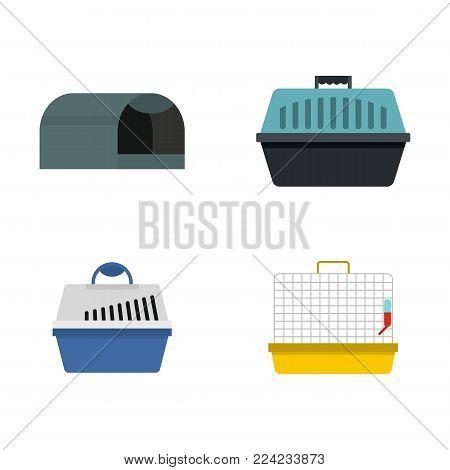 Pet box icon set. Flat set of pet box vector icons for web design isolated on white background
