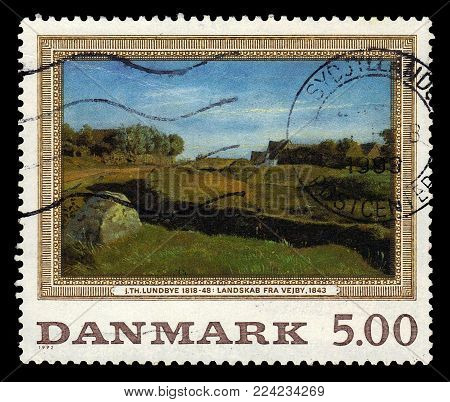 DENMARK - CIRCA 1992: A stamp printed in Denmark shows a painting