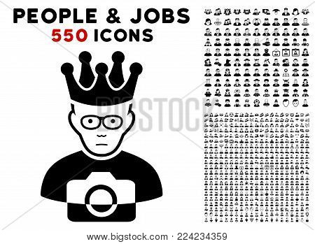 Pitiful Thai King pictograph with 550 bonus pity and happy user clip art. Vector illustration style is flat black iconic symbols.
