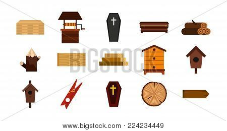 Wood object icon set. Flat set of wood object vector icons for web design isolated on white background