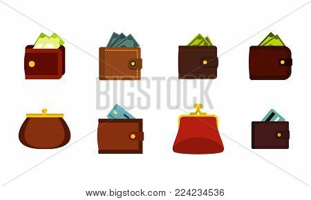 Wallet icon set. Flat set of wallet vector icons for web design isolated on white background