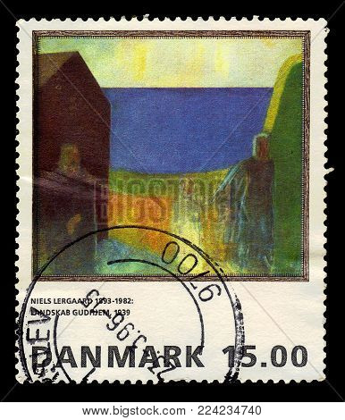 DENMARK - CIRCA 1995: A stamp printed in Denmark shows a painting