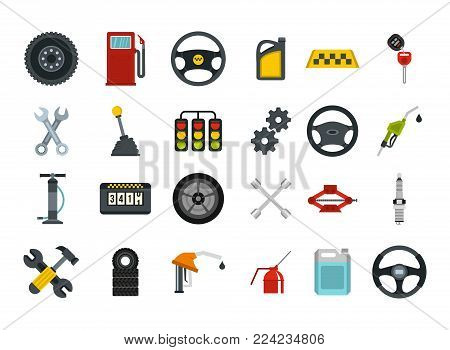 Car parts icon set. Flat set of car parts vector icons for web design isolated on white background