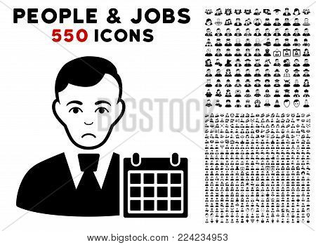 Sadly User Calendar pictograph with 550 bonus pity and happy people graphic icons. Vector illustration style is flat black iconic symbols.