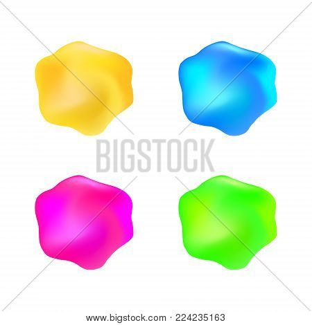 Abstract color glossy formless jelly liquid design element set. Vector illustration.