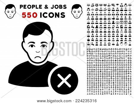 Unhappy User Delete pictograph with 550 bonus pity and glad user pictograms. Vector illustration style is flat black iconic symbols.