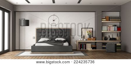 Modern master bedroom with leather bed and bookcase - 3d rendering