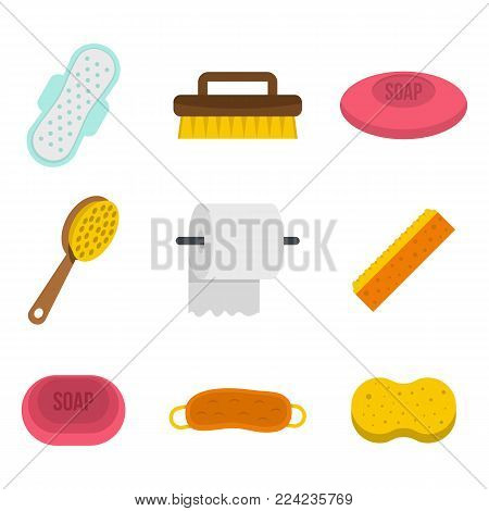 Personal hygiene icon set. Flat set of personal hygiene vector icons for web design isolated on white background