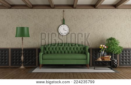 Classic living room with green sofa and upholstery boiserie - 3d rendering