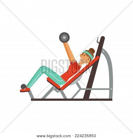 Sportive young woman character exercising with barbell on a bench press, girl working out in the fitness club or gym colorful vector Illustration isolated on a white background