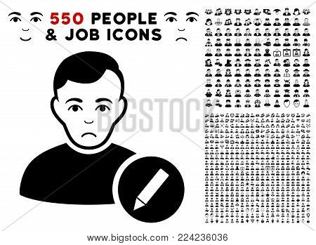 Pitiful User Modify Pencil icon with 550 bonus pitiful and happy people pictographs. Vector illustration style is flat black iconic symbols.