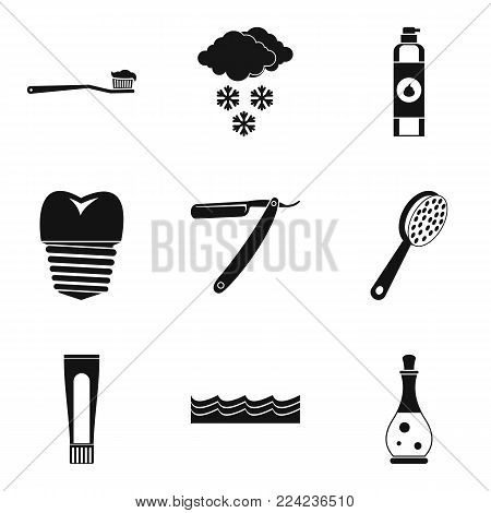 Hygiene icons set. Simple set of 9 hygiene vector icons for web isolated on white background