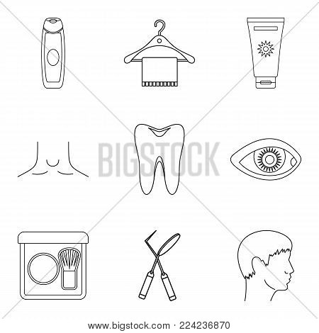 Sanitation icons set. Outline set of 9 sanitation vector icons for web isolated on white background