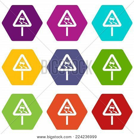 Slippery when wet road sign icon set many color hexahedron isolated on white vector illustration