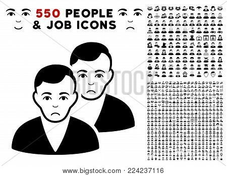 Pitiful Users pictograph with 550 bonus pitiful and happy men graphic icons. Vector illustration style is flat black iconic symbols.