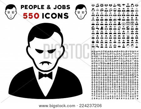Dolor Vampire icon with 550 bonus pitiful and happy person pictograms. Vector illustration style is flat black iconic symbols.