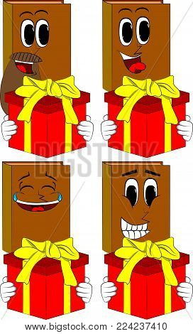 Books holding big gift box. Cartoon book collection with happy faces. Expressions vector set.
